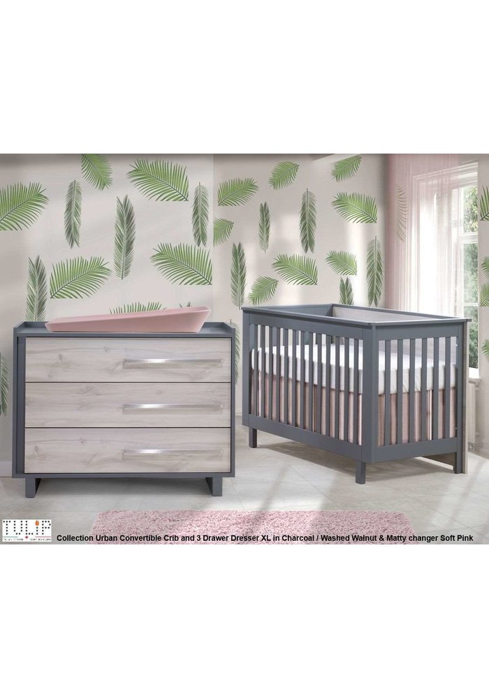 Tulip Juvenile Urban Convertible Crib With 3 Drawer Dresser XL In Charcoal/Washed Walnut