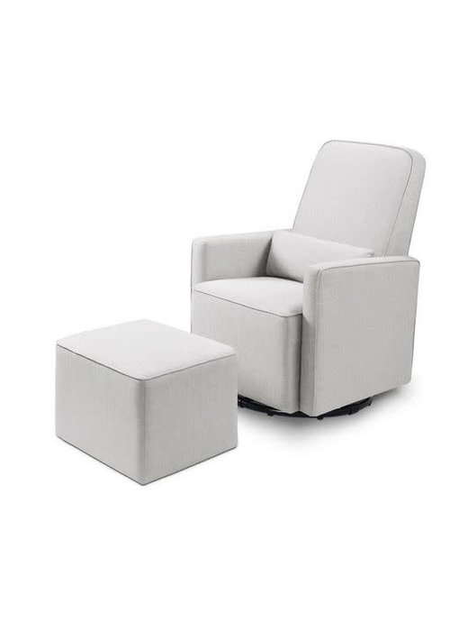 Baby Letto Baby Letto Whitney Swivel Glider With Ottoman In Light Grey Tweed