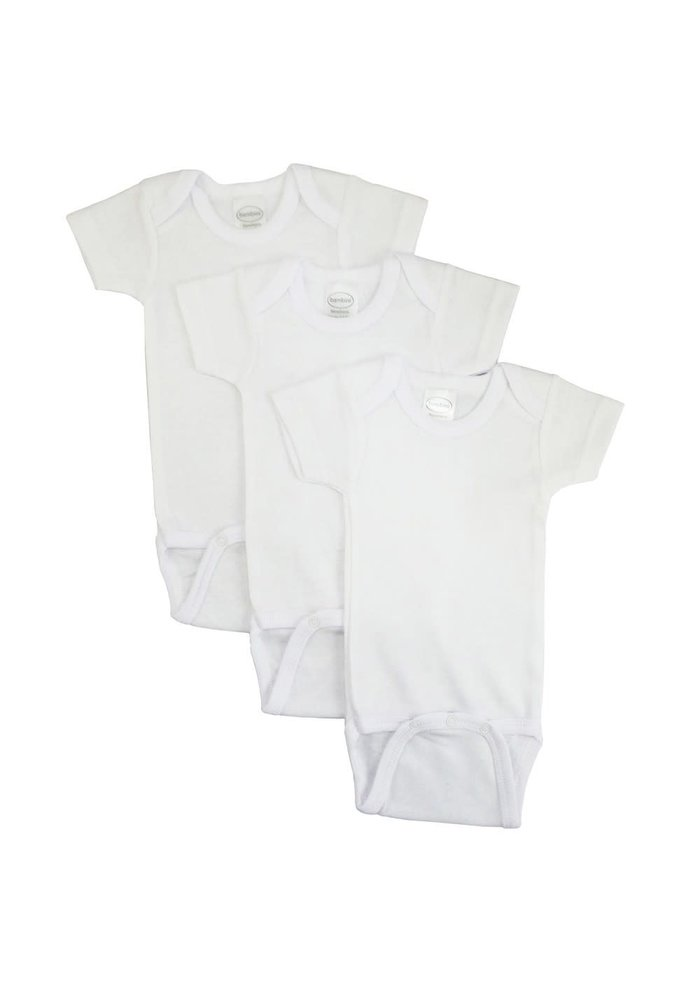 Bambini White Short Sleeve Onesie In Small (6-12 Months)