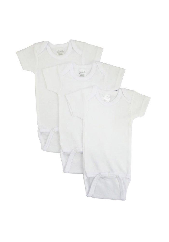 Bambini White Short Sleeve Onesie In Medium (12-18 Months)