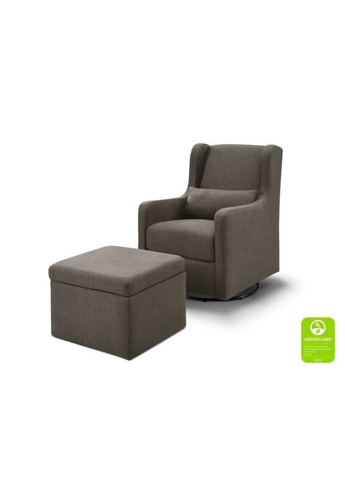 Carters By Davinci Adrian Swivel Glider with Storage Ottoman in Performance Charcoal Linen