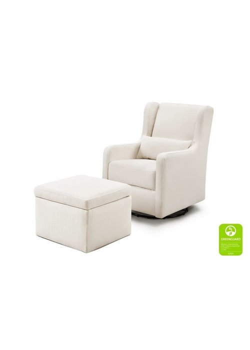 DaVinci Carters By Davinci Adrian Swivel Glider with Storage Ottoman in Performance Cream Linen