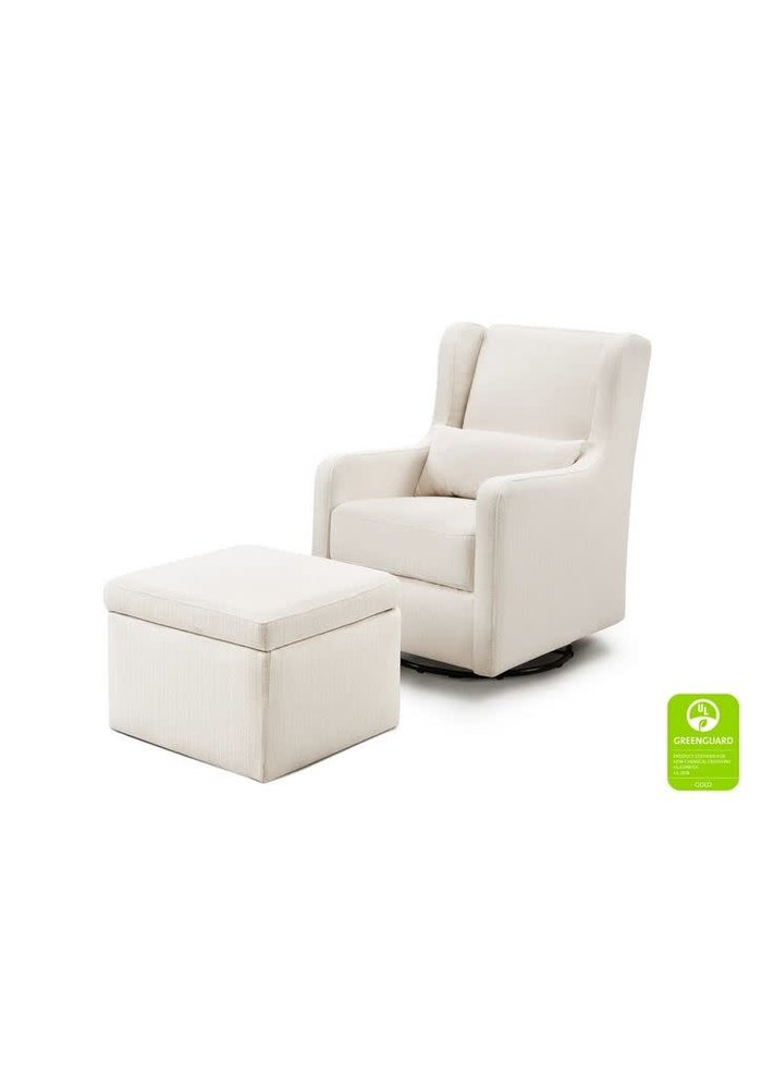Carters By Davinci Adrian Swivel Glider with Storage Ottoman in Performance Cream Linen