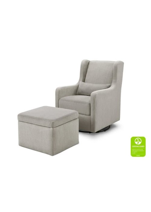 DaVinci Carters By Davinci Adrian Swivel Glider with Storage Ottoman in Performance Grey Linen