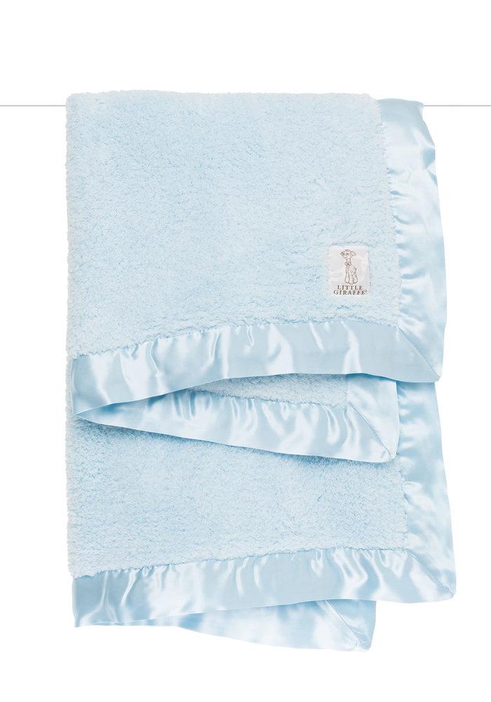 Little Giraffe Plush Chenille Knit Blanket In Blue