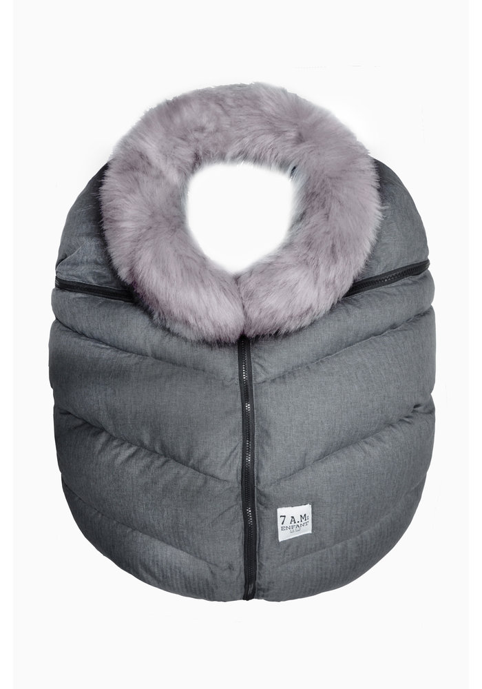7 A.M. Car Seat Cover - Tundra Cocoon In Dark Heather Grey Faux Fur 0-12 Months