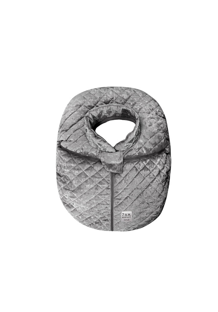 7 A.M. Car Seat Cover - Cocoon In Quilted Grey Velvet 0-12 Months