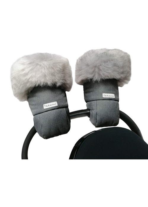 7 AM 7 A.M. Enfant Warmmuffs  In Tundra Heather Grey Dark Faux Fur/Black Plush