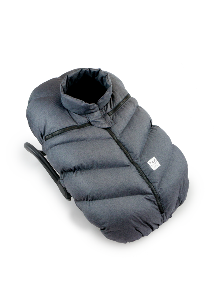 7 A.M. Car Seat Cover - Cocoon In Heather Grey Dark- Black PLush  0-12 Months