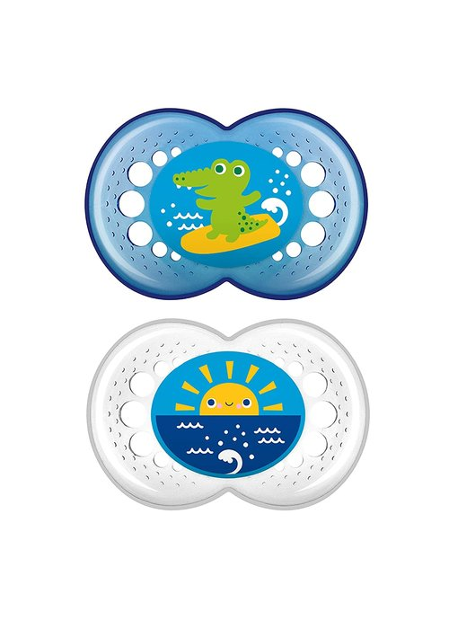Mam Mam Crystal Silicone Pacifier 2-Pack (Assorted) - 6 + Months