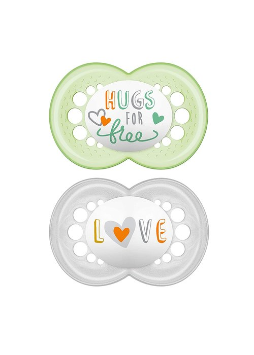 Mam Mam Attitude Silicone Pacifier 2-Pack (Assorted) - 6 + Months