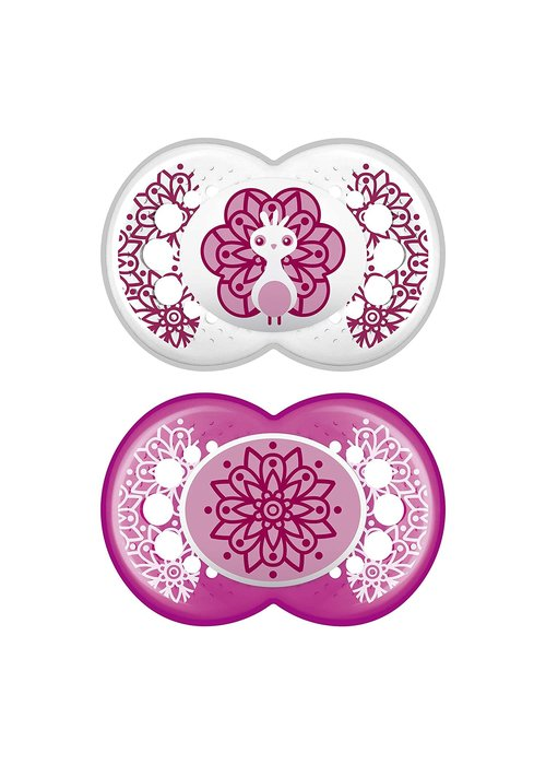 Mam Mam Clear Silicone Pacifier 2-Pack (Assorted) - 6 + Months