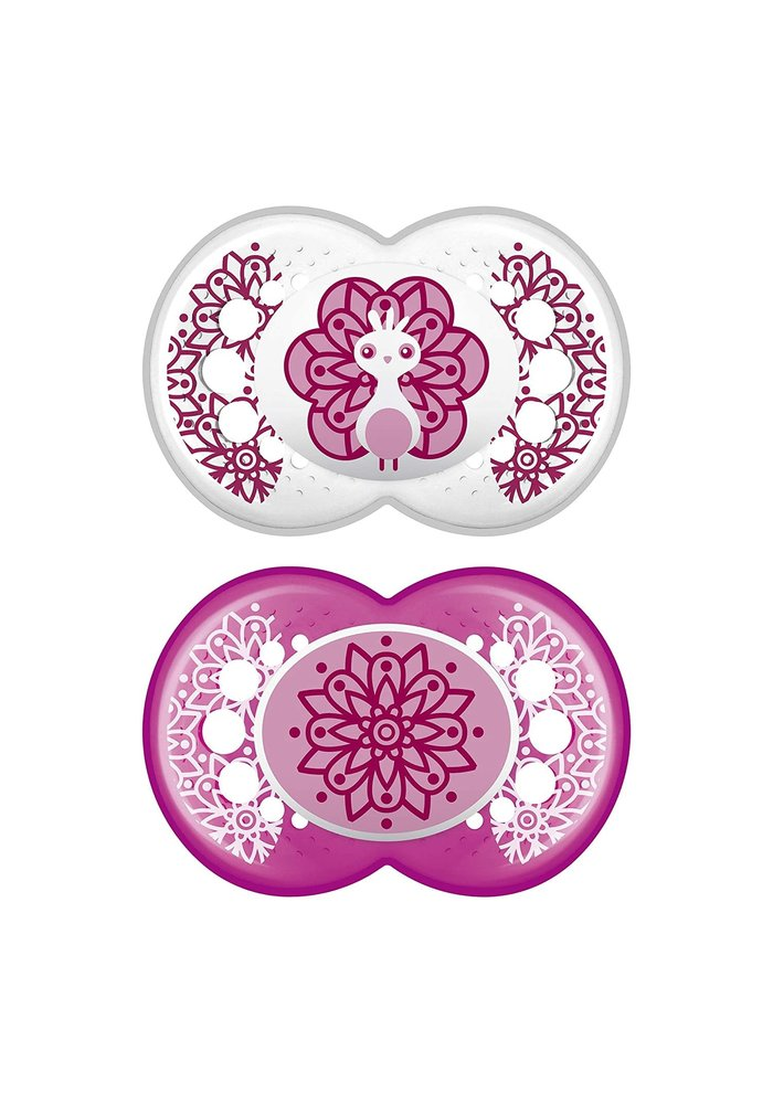 Mam Clear Silicone Pacifier 2-Pack (Assorted) - 6 + Months