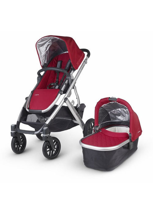UppaBaby CLOSEOUT!! 2015 Uppa Baby Vista Stroller In Denny (Red-Silver)