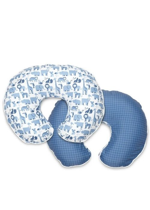 Boppy Boppy Bare Naked Pillow With Premium Slip Cover In Blue Zoo