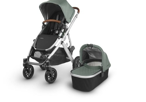 UppaBaby Uppa Baby Vista Stroller In Emmett (Green Mélange/Silver/Saddle Leather)