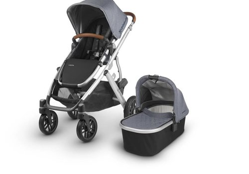 UppaBaby 2018 Uppa Baby Vista Stroller In Gregory  (Blue Mélange/Silver/Saddle Leather)