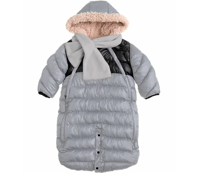 7 A.M. Snow Suit Bunting Doudoune Medium In Gray-Black