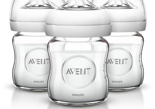 Avent Philips AVENT Natural Glass Bottle, 4 Ounce (Pack of 3)