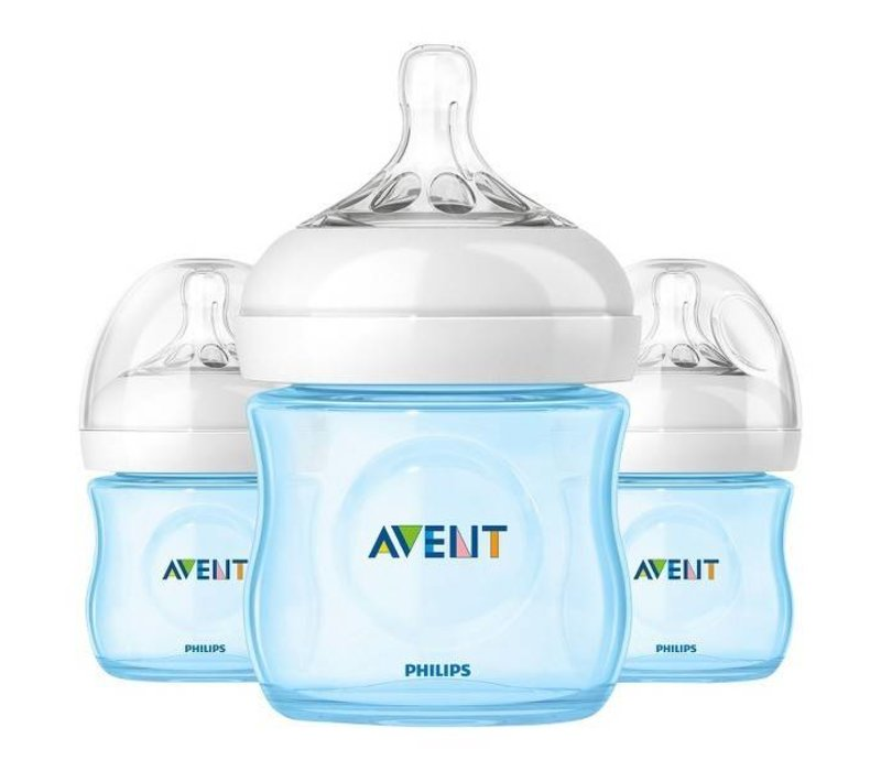 Philips Avent Natural 4 Ounce BPA Free Bottle, 3 Pack In Blue