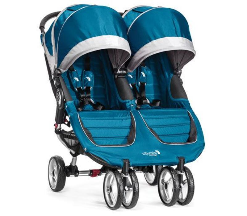 2018 Baby Jogger City Mini Double In Teal - Gray