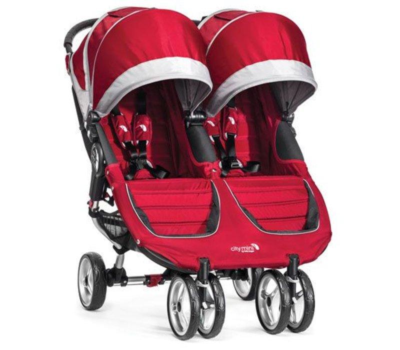 2018 Baby Jogger City Mini Double In Crimson- Gray