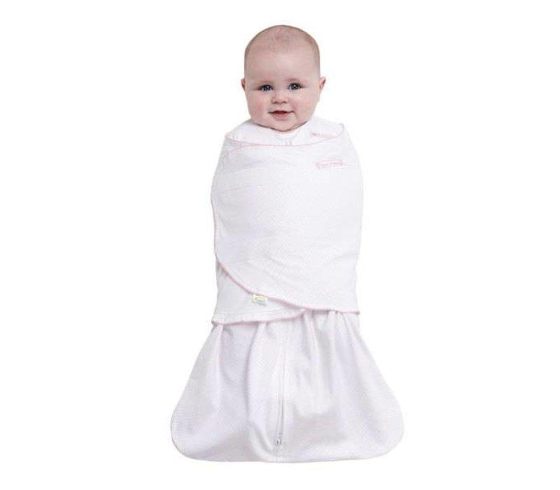 HALO Sleepsack Swaddle 100% Cotton Pink Pin Dot In Newborn
