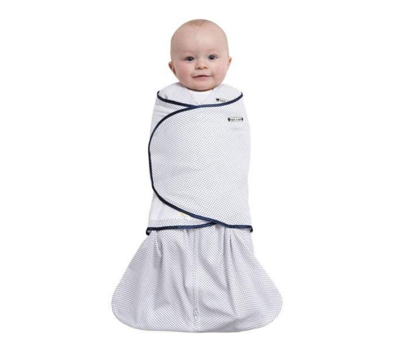 HALO Sleepsack Swaddle 100% Cotton Navy Pin Dot In Newborn