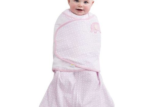 Halo Halo Sleepsack Swaddle 100% Cotton Pink Diamond Print Elephant Emroidered In NB