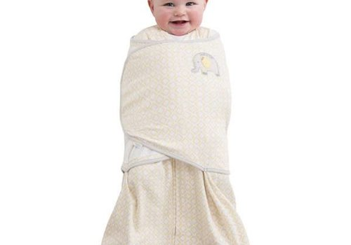 Halo Halo Sleepsack Swaddle 100% Cotton Yellow Diamond Print Elephant Emroidered - NB