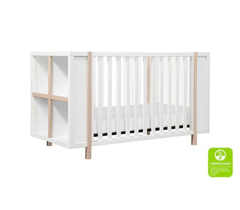 Baby Letto Bingo 3 In 1 Crib With Storage And Toddler Rail In White- Natural