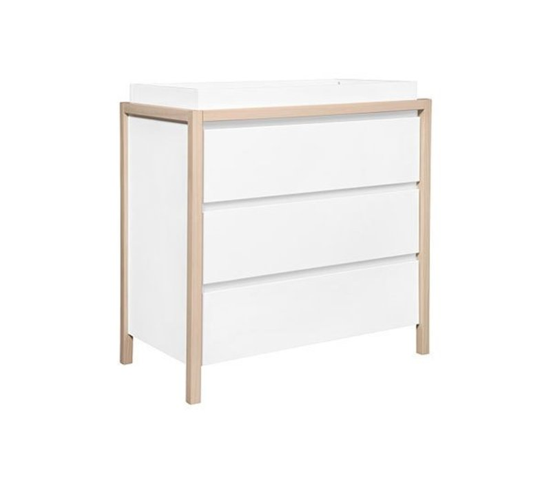 Baby Letto Bingo 3 Drawer Changer In Gray In White- Natural