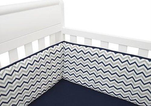 American Baby American Baby Standard Crib Size Bumper In Navy Zig Zag