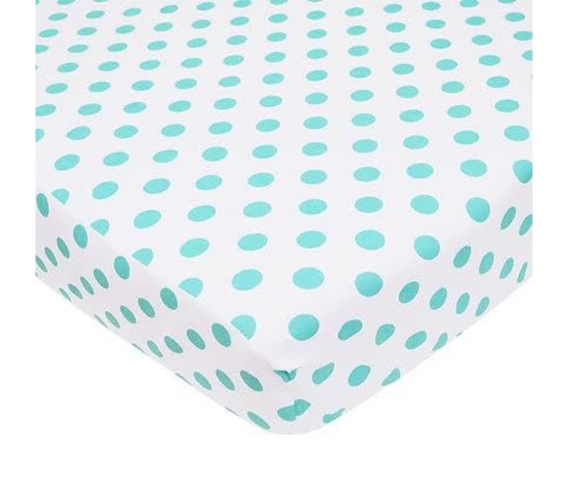 American Baby Percale Crib Sheet Aqua Dot