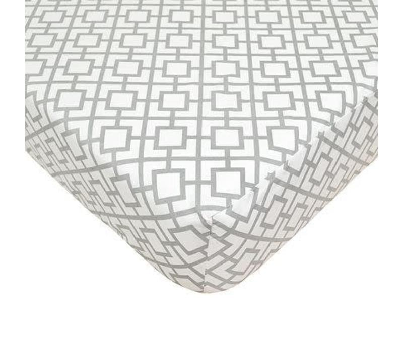 American Baby Percale Crib Sheet Gray Lattice