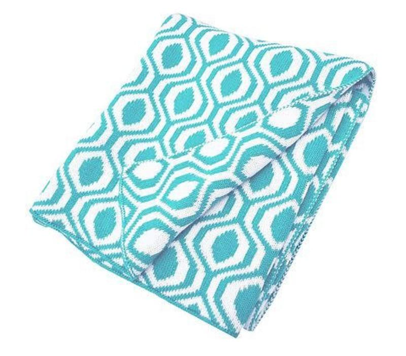 American Baby 100% Cotton Sweater Blanket In Aqua-Ogee