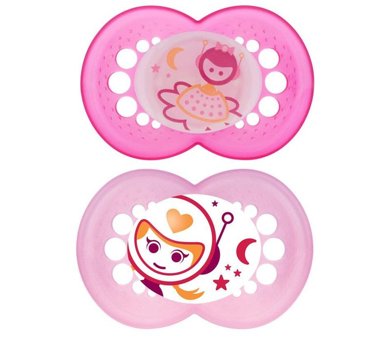 Mam Night Silicone Pacifier 2-Pack (Assorted) - 6 + Months