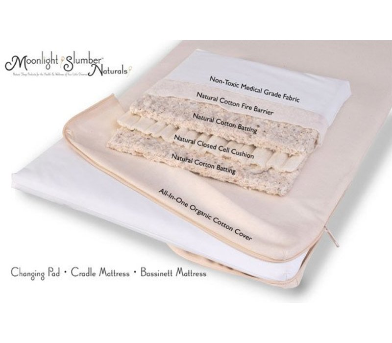 Moonlight Slumber Natural Cotton Changing Table Pad with Organic Cotton Coverlet