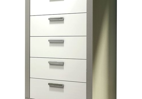 Nest Juvenile Nest Milano 5 Drawer Dresser In Elephant Grey-White