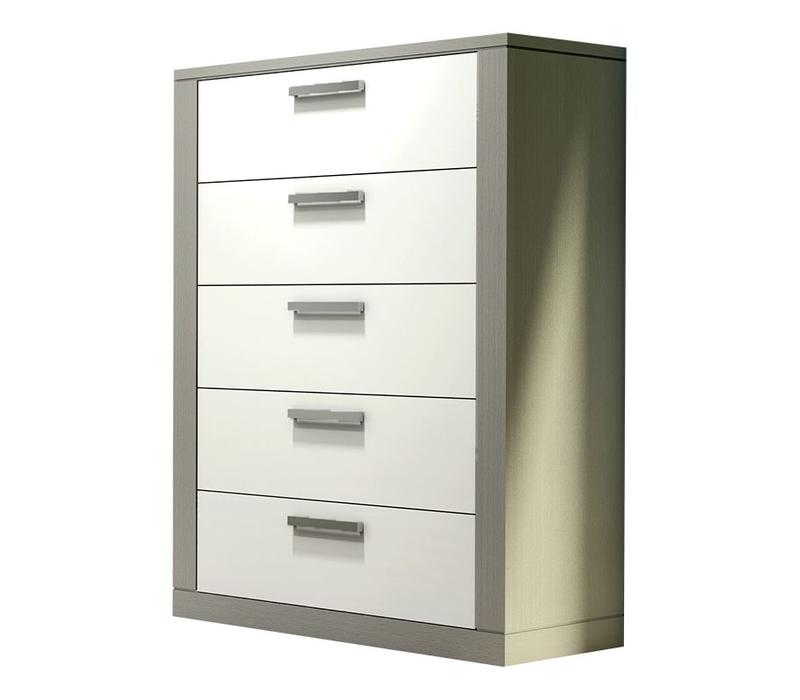 Nest Milano 5 Drawer Dresser In Elephant Grey-White