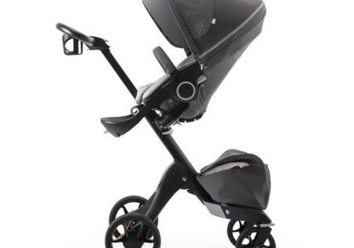 Stokke Stokke Xplory Basic In Black Frame With Limited Edition Athleisure Grey Fabric