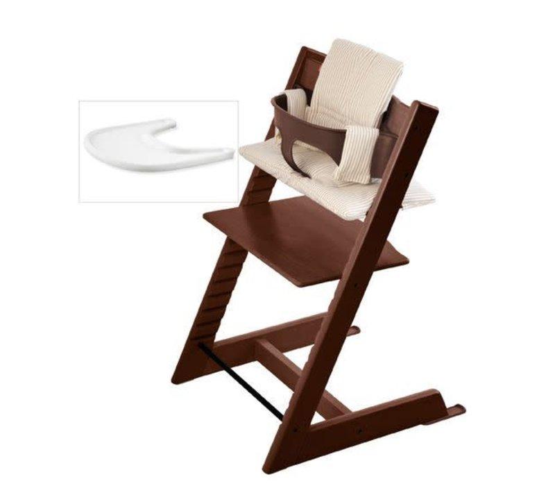 Stokke Tripp Trapp Complete Highchair In Walnut With Beige Stripe Cushion