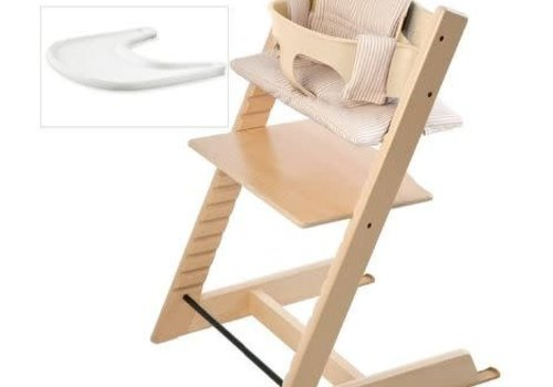 Stokke Stokke Tripp Trapp Complete Highchair In Natural With Beige Stripe Cushion