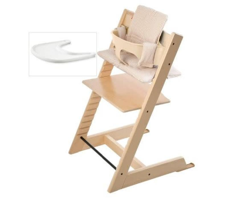 Stokke Tripp Trapp Complete Highchair In Natural With Beige Stripe Cushion
