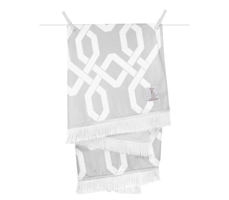 Little Giraffe Bliss Windowpane Blanket in Silver