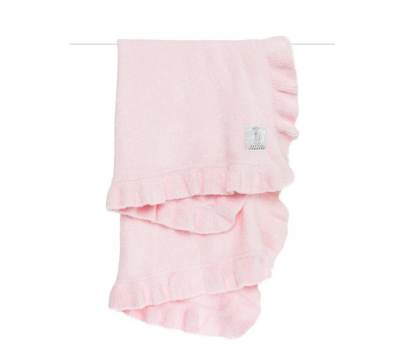 Little Giraffe Dolce Ruffle Blanket in PInk