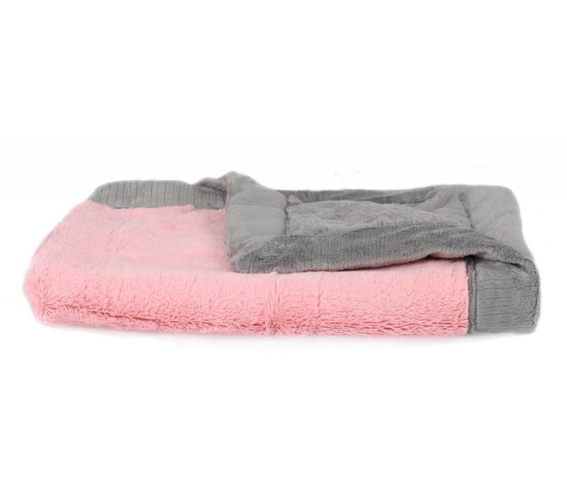 Saranoni Blanket In Pink Lush/Gray Lush Toddler to Teen Large 40'' x 60''