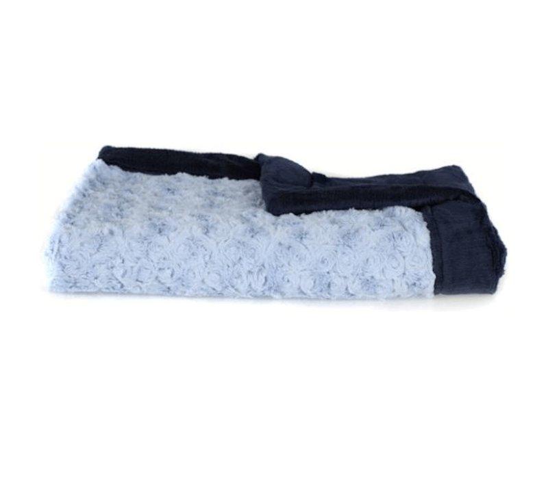 Saranoni Receiving Blanket In Light Blue/Navy Lush Medium 30'' x 40''