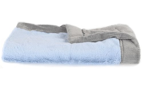 Saranoni Saranoni Receiving Blanket In Light Blue Lush/Gray Lush Medium 30'' x 40''