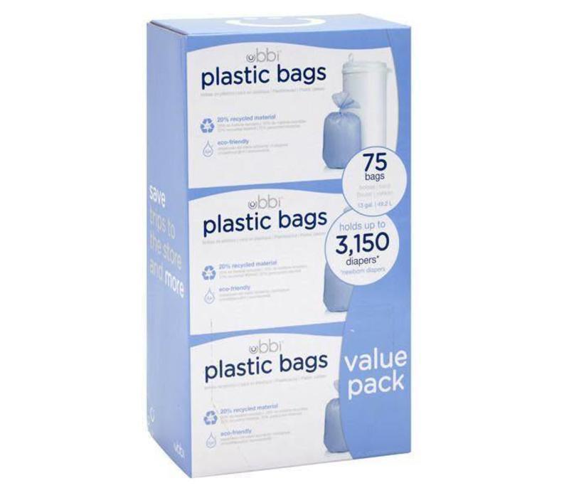 Ubbi 3 Pack Plastic Bags In White
